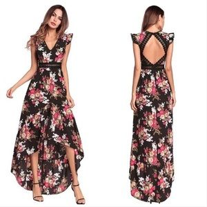Black Floral Boho High Low Dress With Open Back